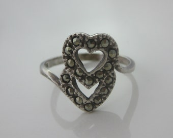 Size 7 1/2 Vintage Sterling Silver Flower Ring Band