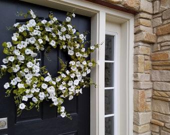 Wreaths, Wreaths, XL Summer Wreath, Wreath, White Petunias, Summer Door Wreaths, Petunia Hanging Basket, Petunias, Summer Wreaths