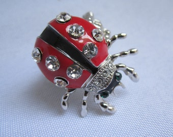 Lady Bug Ring with Crystal