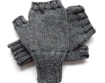 Gray Texting Gloves for Men, Teen Boys, Handknit Fingerless Gloves, Hand Warmers, gift for men, wool gloves, knit gloves, mitts,  size M/L