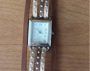 Bohemian suede/leather wrap bracelet watch