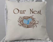 Our Nest Pillow Shower Gift Wedding Gift House Warming Wedding Gift Home Decor 3 sizes INSERT INCLUDED