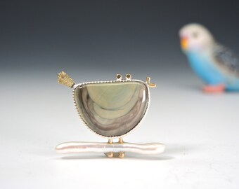 Bird Brooch on Stick Pearl, Imperial Jasper, Bird Pin, Sterling Silver and 14kt Gold, Bird Lover, Whimsical