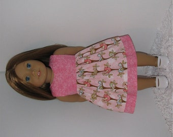 Pink Summer Dress with Back Bow, Fits 18 Inch American Girl Dolls