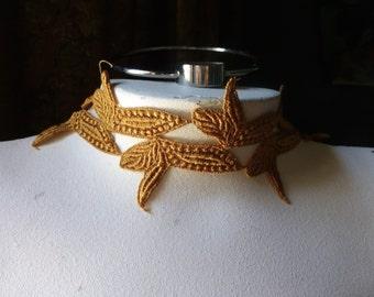 Saffron Venise Lace Trim for Appliques, Jewelry or Costume Design CL