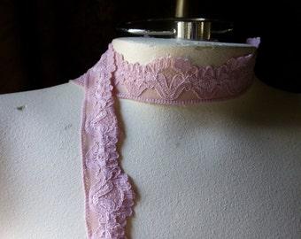 5 yds Pink Stretch Lace in Antique Rose for Bridal Garters, Baby Headbands,  Lingerie  STR 1092