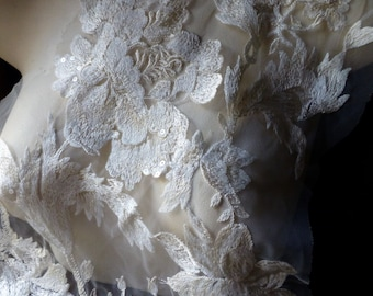 IVORY Cream Beaded Lace Applique for Bridal Gowns, Garments, Costume Design IA
