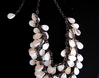 SHELL Tear Drops on Silver Chain THREE Layer Necklace VINTAGE