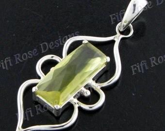 "1 15/16"" Lemon Quartz 925 Sterling Silver Pendant"