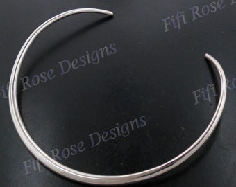 """20"""" 6mm Sterling Silver Tube Collar Torque Choker Necklace"""