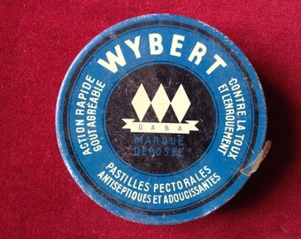 French Advertising tin box drop for throat