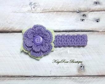 Newborn Baby Purple and Green Crochet Flower Headband