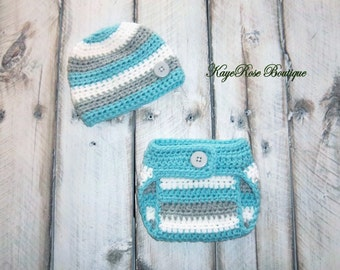 Newborn Baby Boy Hat and Diaper Cover Set Teal Gray and White Stripes