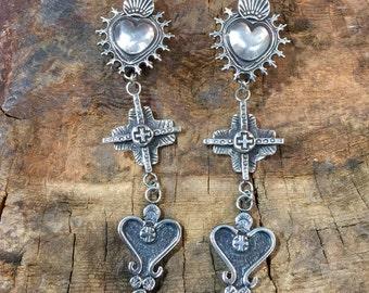 E284 Sterling Silver Mesilla Heart Tesuque Cross Madrid Heart Southwestern Native Santa Fe Style Earrings