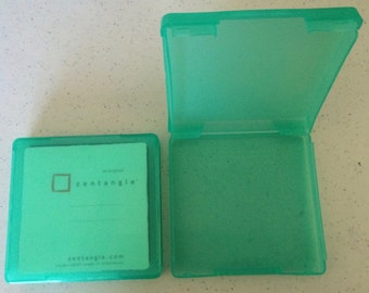 Set of 2 XL green cases, great for Zentangle tiles,  holds up to 35 each,