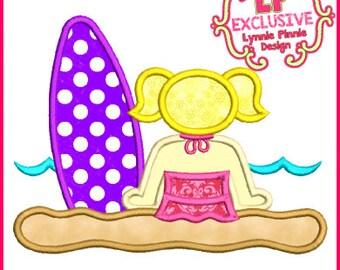 Beach Surf Girl 1 Applique 4x4 5x7 6x10 SVG Machine Embroidery Design