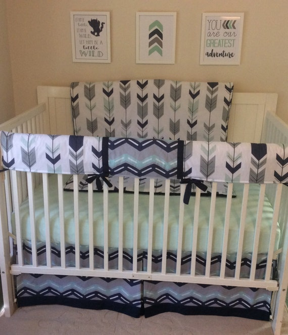 Baby Boy Crib Bedding Set Navy Mint and Grey Bumperless