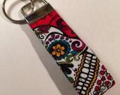 Mini Key chain featuring a sugar skull,  key fob, Keychain, Lanyard, Keyring