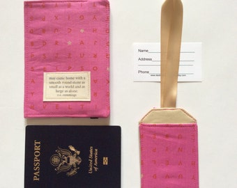 """Passport Cover, luggage tag set e.e. Cummings quote"""" world as small as a stone"""
