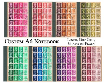 British Postage Stamp Notebook | recycled A6 bullet journal | custom, colourful postal stamp collage | retro hipster office, philately gift