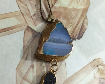 Darkness and dreams agate druzy necklace