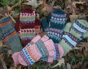 Alpaca glittens. Convertible mittens.  FANCY. Only 2  colors available now.  Mint green, blueberry with a frost.