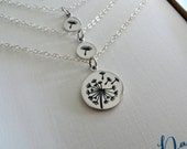 Mother daughter jewelry, Dandelion charm necklace sets, sterling silver, gift for mom from daughter, 2 children