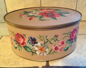 Textured Needlepoint Roses Tin Biscuit Box