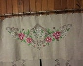 Russian Antique Heavy Handwoven Linen Certains with Embroidery