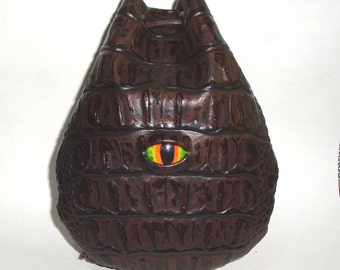 Brown Croc  Vegan leather Dragon eye   runes coin dice pouch bag  Medieval Celtic