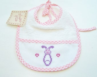 Hand Embroidered Bib, Pink Gingham Cross Stitch Bib, Diaper Pin Needlework Bib, Baby Bib, Girl's Terry Feeding Bib, Shower Gift Baby Feeding