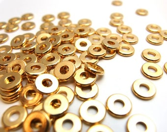 new / W112GD / 60Pc / Diameter 7mm - Gold Plated Machined Cut Washer / Spacer Beads