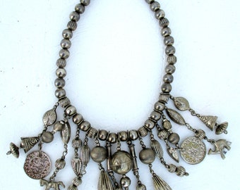 Vintage Silver Bead Tassel Charm Tribal Necklace Afghan India Belly Dancing Ethnic Bohemian Jewelry