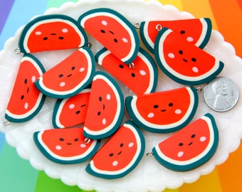 Fruit Charms - 35mm Kawaii Happy Watermelon Fimo Polymer Clay or Resin Charms - 6 pc set