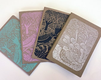 4 x hand-printed notebooks
