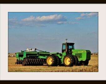 John Deere Tractor Sunflower Grain Drill,midwest farming,oklahoma