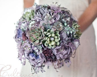 Succulent Brooch Bouquet Alternative, Mercury Glass Wedding Lilac Purple fabric brooch bouquet,  artificial bouquet, silver dusty purple