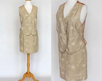 90's Skirt & Vest /  A-Line Mini Skirt / Linen / Small