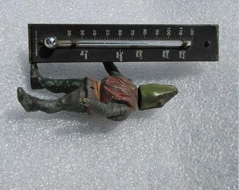 Antique Alligator or Lizard Desk Thermometer