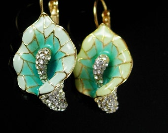 Reserved Cala Lily earrings Enamel Turquoise and Rhinestones Vintage art nouveau design Pierced Flowers anniversary gift religious jewelry