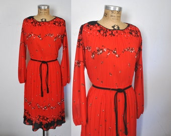1970s Red Dress / accoridon floral / Large