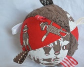 Ribbon Tag Cloth Jingle Ball Baby Toy with SOCK MONKEY fabric