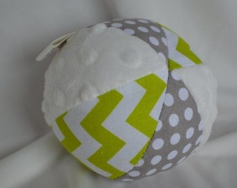 Lime Chevron and Gray Dot Jingle Ball Baby Toy with Minky