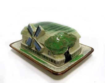 Windmill Covered Butter Dish Cottage Ware Pottery Japan Vintage 1950s