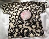 Grungy tie dye sunprinted  tee black tan discharge tie dyed t shirt XXL