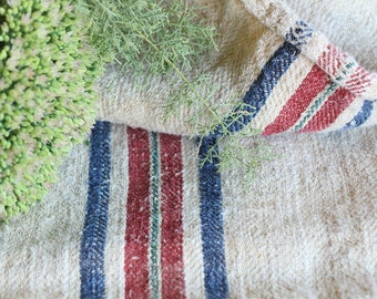 B 534 antique classy grainsack BLUE RED holiday feeling pillow cushion 43.31long thanksgiving french lin