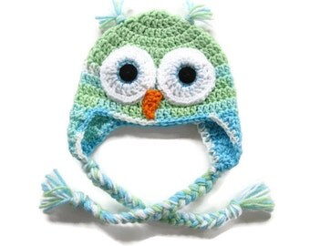 Crochet Owl Hat - Green and Aqua Owl Earflap Baby Hat - Size 6 to 9 Months - Crocheted Owl Baby Girl Hat