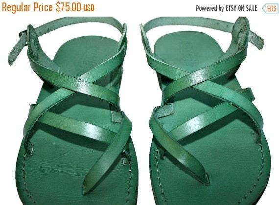 15% OFF Green Triple Leather Sandals for Men & Women - Handmade Sandals, Leather Flip Flops, Jesus Sandals, Unisex Sandals, Green Sandals