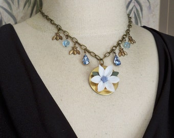 Clay flower pendant necklace - Blue gemstones - Bee charms - Garden inspired Choker - One of a Kind - bycat