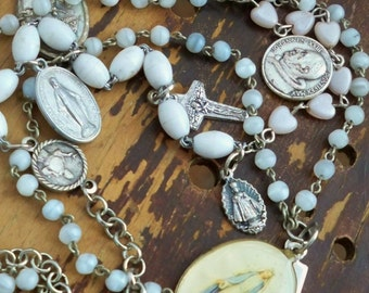 Rosary necklace chains recycled - Cross & Mary picture medal Vintage rosary medals MOP Assemblage Religious - bycat
